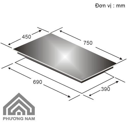 Kích thước lắp đặt bếp từCanzy CZ 67P
