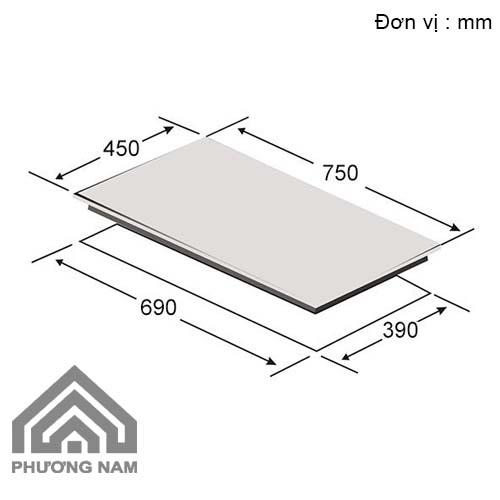 Kích thước lắp đặt bếp từCanzy CZ 900GB