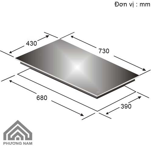 Kích thước lắp đặt bếp điện từ Canzy CZ 930I - Bếp Phương Nam