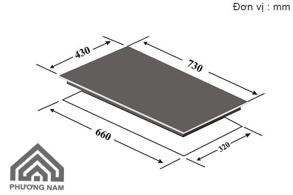 Kích thước lắp đặt bếp từ đôi CanzyCZ-II 822SL