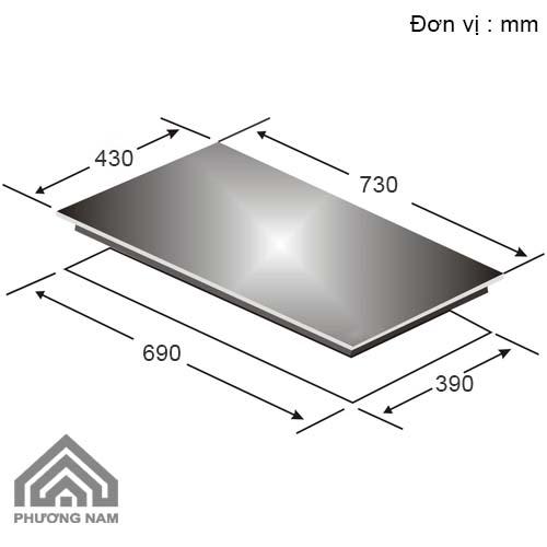 Kích thước lắp đặt bếp từCanzyCZ ML757I