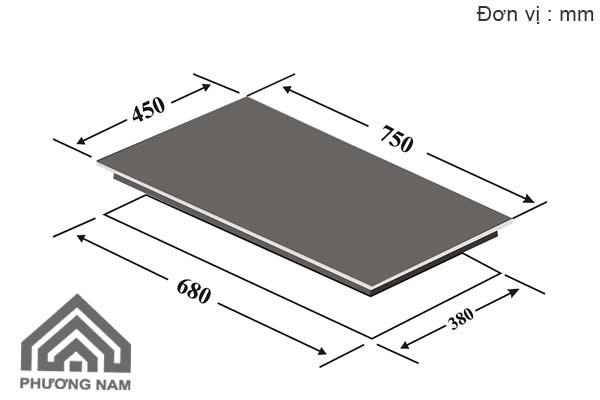 Kích thước lắp đặt bếp từCanzy CZ-TL 868I