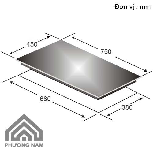 Kích thước lắp đặt bếp từCanzy CZ TL67A