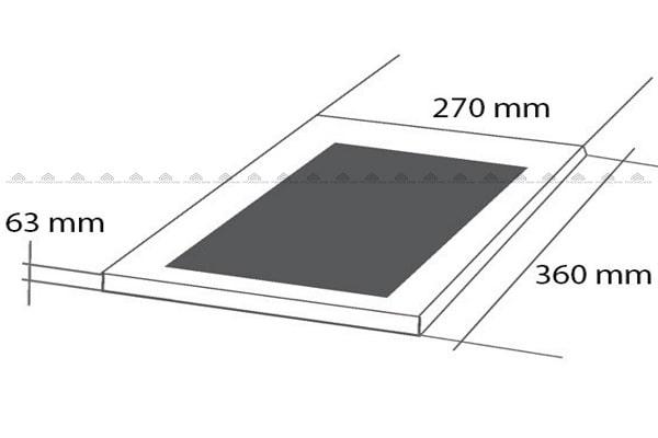 Kích thước mặt kính & khoét đáBếp Từ Eurosun EU-T185S