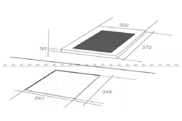 Kích thước mặt kính & khoét đáBếp Từ Eurosun EU-T199