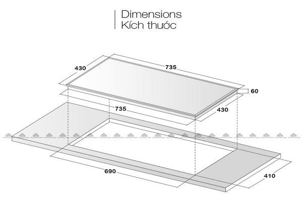 Kích thước mặt kính & khoét đáBếp Từ Eurosun EU-T210Max