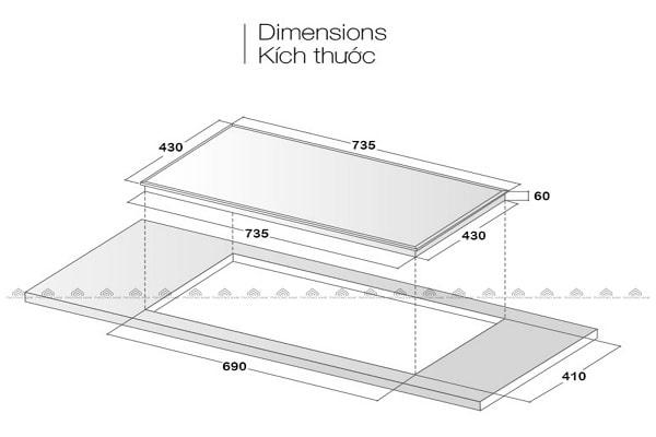 Kích thước mặt kính & khoét đáBếp Từ Eurosun EU-T256MAX
