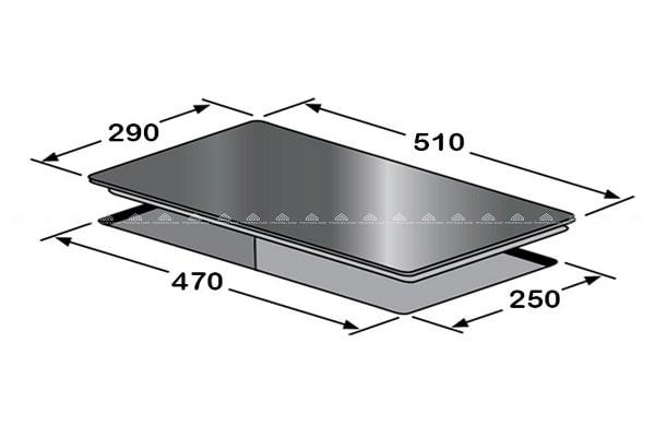 Kích thước mặt kính & khoét đáBếp Từ Eurosun EU-T506DO