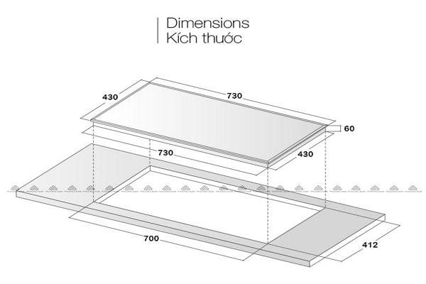 Kích thước mặt kính & khoét đáBếp Từ Eurosun EU-T508MAX
