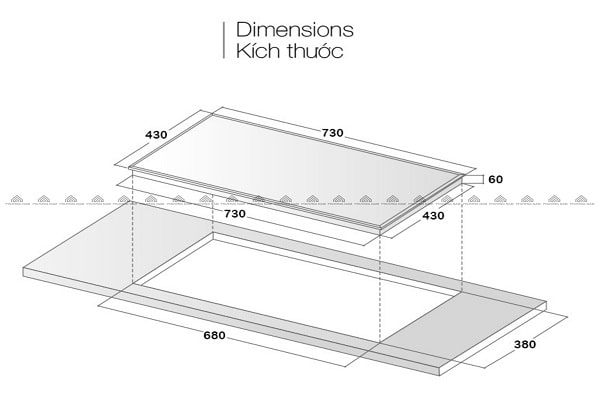 Kích thước mặt kính & khoét đáBếp Từ Eurosun EU-T710PRO (Silver)