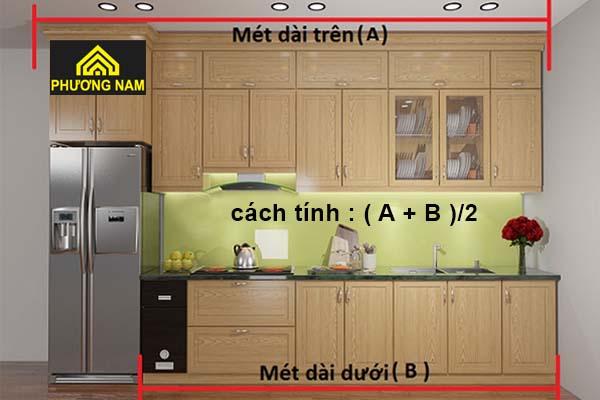 Cách tính báo giá tủ bếp nhóm kính theo mét dài