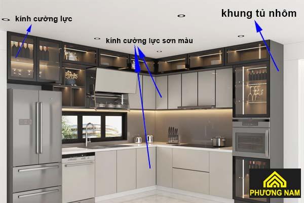Cấu tạo chi tiết tủ bếp nhômcánh kính cường lực