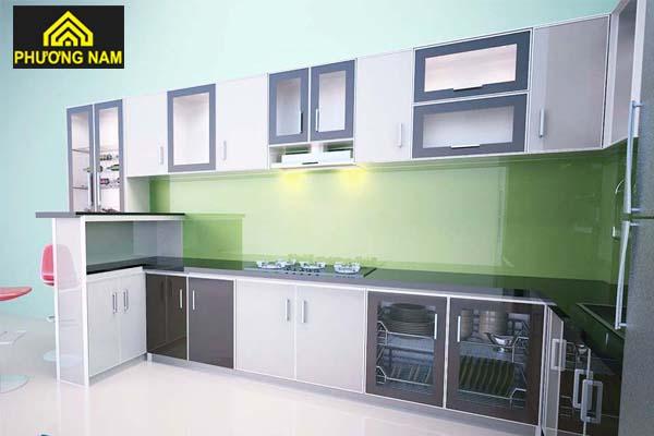 Tủ bếp nhôm cửa kính cường lực đẹp sang trọng giá tốt tphcm