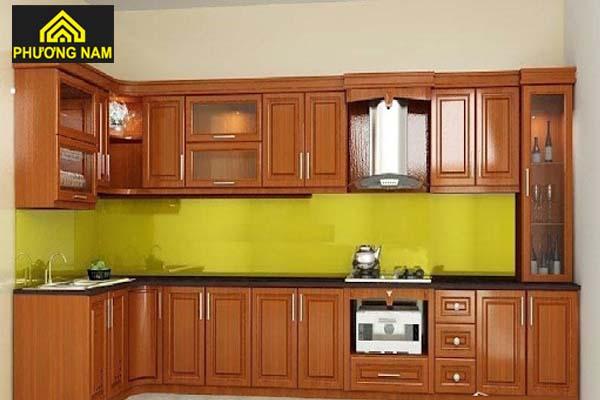 Tủ bếp nhôm omega cánh kính cường lực đẹp sang trọng giá tốt tphcm