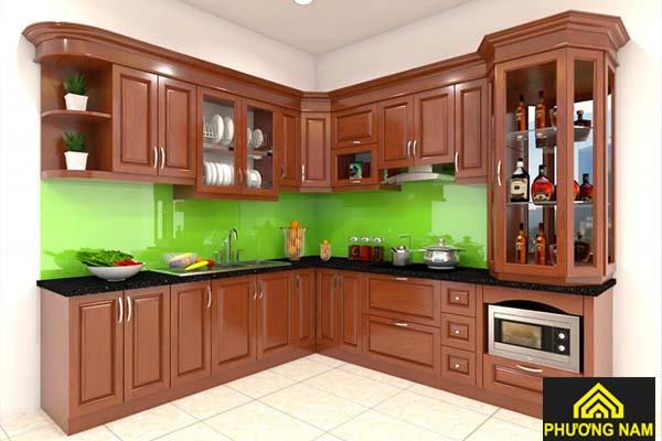 Tủ bếp nhôm kính vân gỗ cao cấp Omega